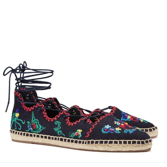 Tory Burch Sonoma Ghillie embroidered espadrilles